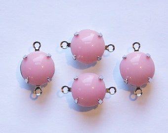 Vintage Opaque Pink Glass Stones 2 Loop Silver Plated Settings (4) rnd005W2