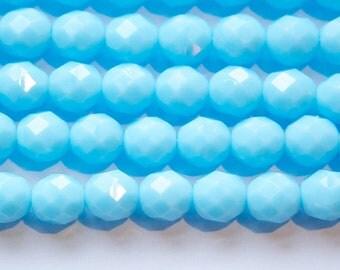 Czech Opaque Light Blue Faceted Glass Beads 8mm (25) czh001J