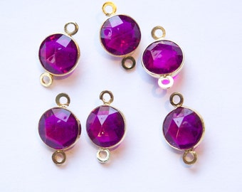 Vintage Purple Acrylic Faceted 2 Loop Channel Set Connector Beads chr182A