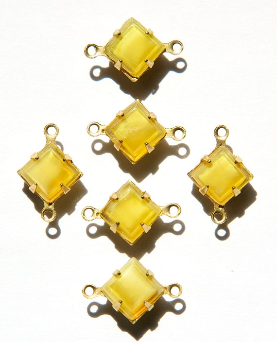 Golden Yellow Moonglow Square Glass Stones in 2 Loop Brass Setting 8mm squ002JJ2