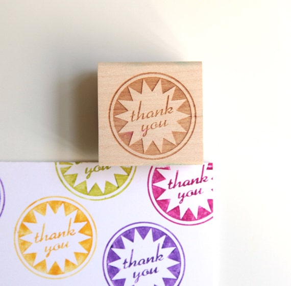 Large Thank You Stamp (Wood Mounted) Retro Starburst Original Design with optional wooden handle (S203)