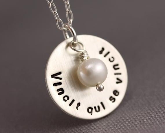 Vincit Qui Se Vincit Necklace - Sterling Silver Chain, Stamped Disc, White Pearl Dangle