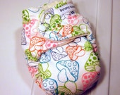 Mushroom Fitted Cloth Diaper Newborn Super Nights made with bamboo velour and organic cotton