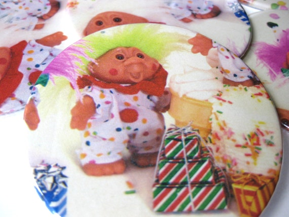 Troll Coasters // Recycled Vintage Wrapping Paper