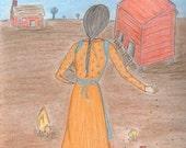 Mexican Folk Art  Retablo Folk Art - Prairie Peace Retablo, Chickens & Chicken Coop, Farm in Spring