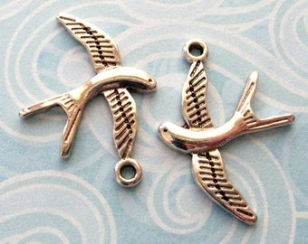 Silver Bird Charms 31mm - SALE - Set of 12 - Antique Silver Finish (SC0066)
