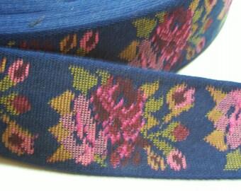Jacquard Ribbon, Blue with Pink Roses Brocade Jacquard Ribbon 1 3/4 inches wide x 3 yards