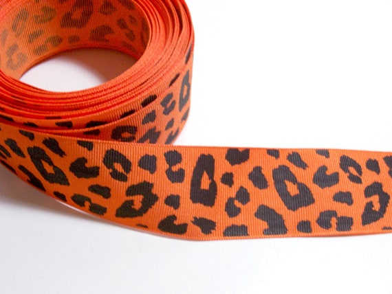 Orange Leopard Grosgrain Ribbon 1 1/2 inches wide x 10 yards SECOND QUALITY FLAWED