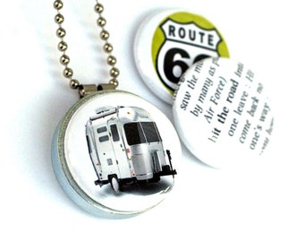 ROAD TRIP Locket Necklace - Airstream, Trailer Jewelry, Travel Necklace, Recycled Steel Magnetic Locket by Polarity