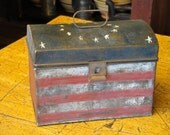 Hand Painted Americana Vintage Tin Box With Handle
