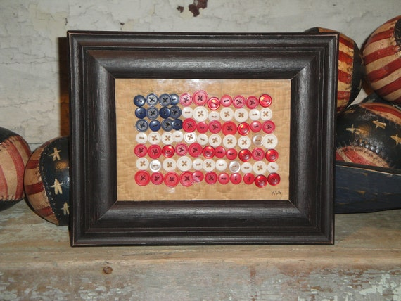 American Flag Made From Buttons And Old Quilt