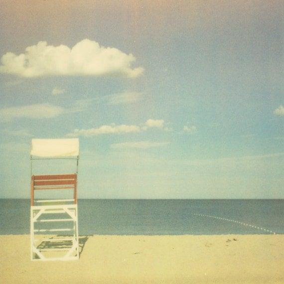 Polaroid phototgraphy beach photo lifeguard chair red and white end of summer deserted beach ocean dreamy - Seaside Dreams 8x8