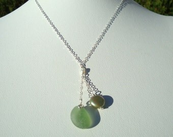 Sea Glass Necklace -Green Seaglass Coin Pearl Drop- Sterling Silver Jewelry