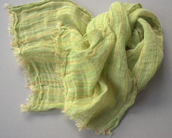 Scarf men women natural linen, green yellow orange striped, eco friendly natural linen, summer autumn fashion, pre shrunk