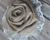 Burlap and lace flower accent- perfect addition to wedding decor and flower girl baskets