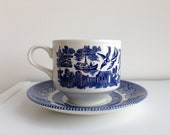 Vintage Cup and Saucer - Blue Willow