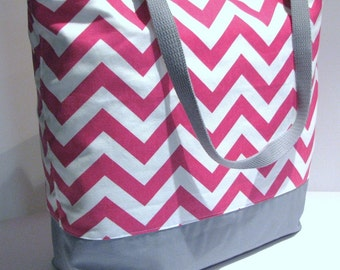 Large Chevron Tote chevron beach bag . Pink White or DESIGN YOUR OWN . Teacher tote bag . great bridesmaid gifts Monogramming Available