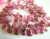 1/2 Strand---Pink Watermelon Tourmaline Faceted Pear Briolettes