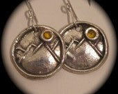 Sunny Mountain Earrings in Recycled Silver with Citrine - Personalization