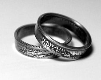 Handcrafted Ring made from a US Quarter - Hawaii - Pick your size