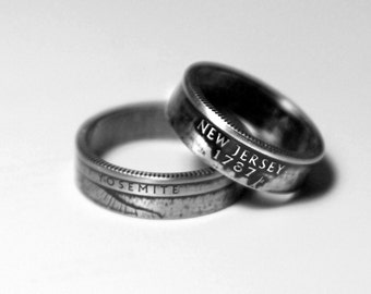 Handcrafted Ring made from a US Quarter - New Jersey - Pick your size
