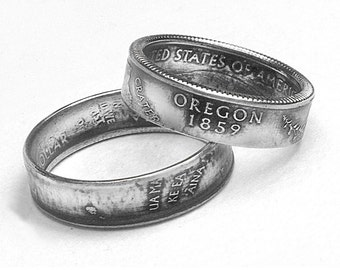 Handcrafted Ring made from a US Quarter - Oregon - Pick your size