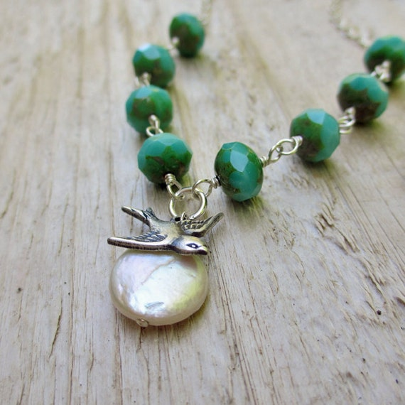 Silver Bird Beaded Necklace - Turquoise czech glass, Bird Charm, Coin Pearl, Turquoise Blue, Mint Green