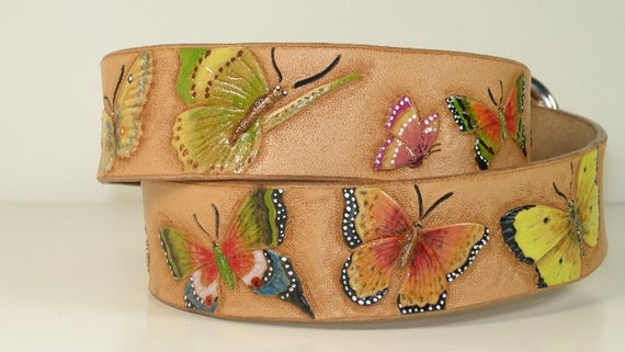 Quality leather butterfly belt all hand made.  Loaded with butterflies.