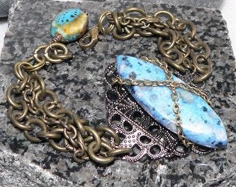 Blue Kiwi Bracelet, Turquoise Bracelet, Jasper Gemstone Bracelet, Chain & Link Bracelet, Antique Brass Chain Jewelry
