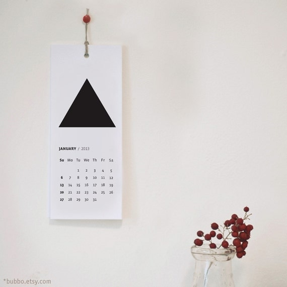 2013 PRINTABLE CALENDAR with geometric SHAPES
