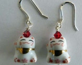 Maneki Neko Protects Good Luck Kitty Cat Earrings SRAJD