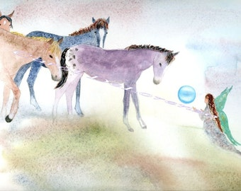 Watercolor Painting Horse Art, Horse Painting, Horse Watercolor, Fairy Art, Fairy Painting, Print Titled The Magic Sphere