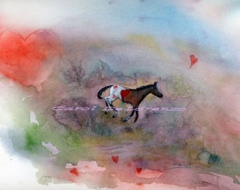 Watercolor Painting Horse Art, Horse Painting, Horse Watercolor, Horse Art Print, Heart Art, Print Of Original Watercolor Titled Heart Colt