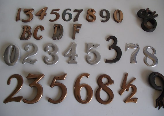 Vintage House Numbers Letter Symbols - Choice - Aluminum, Copper - B C D F 0  3 4 5 and 8 - RESERVED FOR Emilie