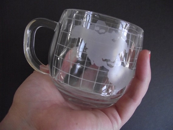 Vintage Globe Glass Mugs - Nescafe - set of 6