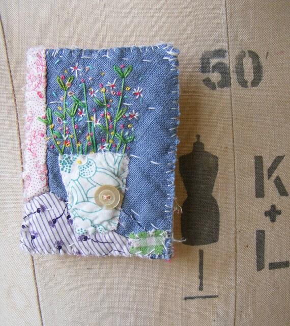 Handmade Brooch hand embroidered flowers