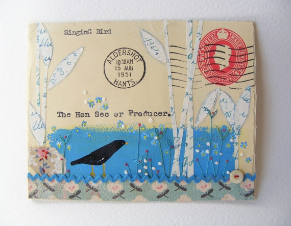 Original artwork on a 1951 British Envelope   Hand painted Bird and embroidered flowers
