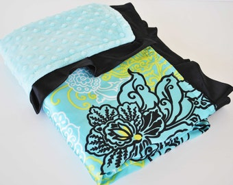 MADDOX  mini BABY BLANKET.....Aqua minky dimples / Aqua medallion satin print  ..Soft and comforting fabrics. Makes a great baby shower gift
