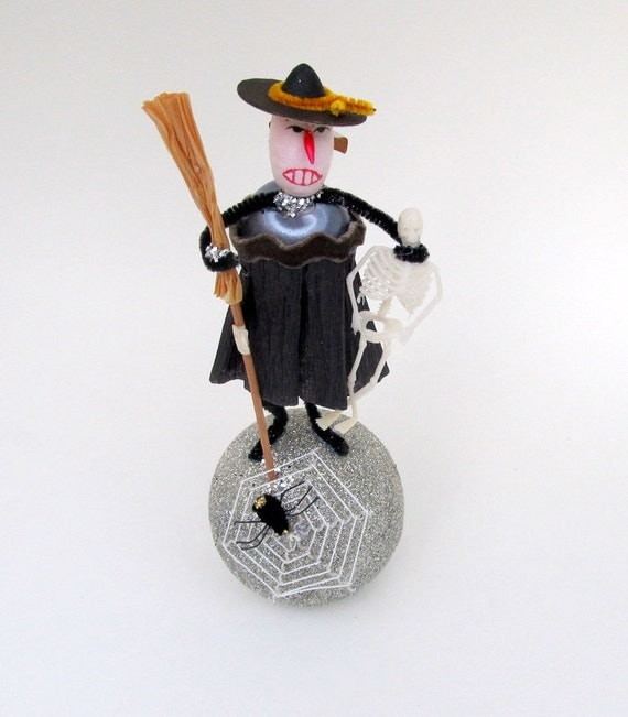 Halloween Decoration Vintage Spun Cotton Witch with Skeleton and Broom