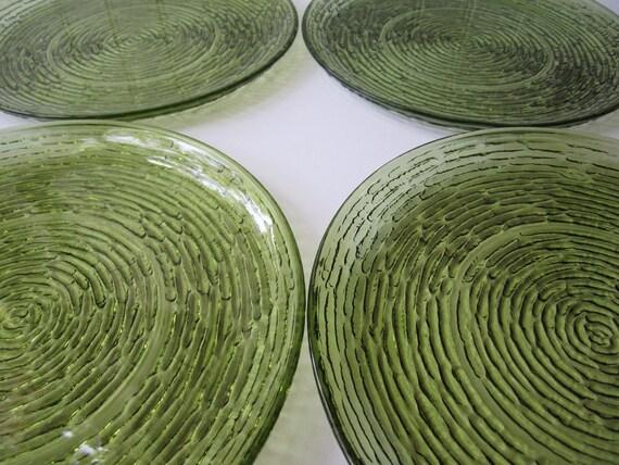 Vintage Anchor Hocking Avocado Green Soreno Dinner Plates Set of Four