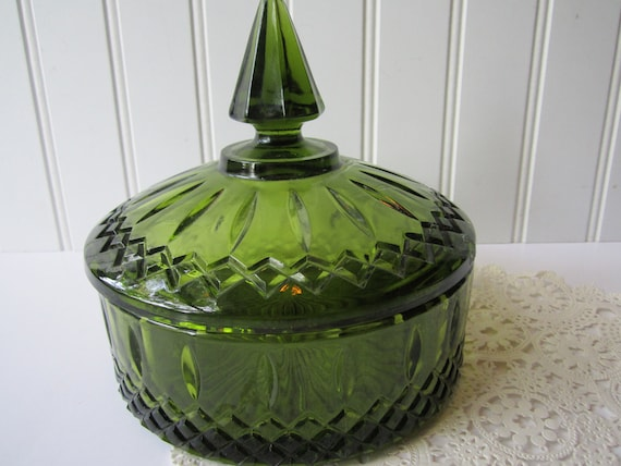 Vintage Indiana Princess Avocado Green Covered Candy Jar
