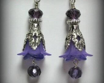 Purple Trumpet Flowers, Czech Glass Flowers & Silver Earrings (es21)