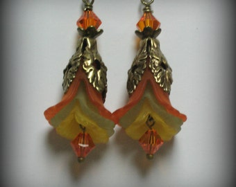 Orange, Lime and Yellow Iris, Swarovski Crystal & Antique Brass Flower Earrings (eb2)