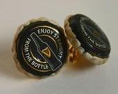 Recycled GUINNESS Beer Bottle Cap Cufflinks with Guinness Bottle on Cap