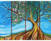 4 Seasons Tree art card west coast art by April Lacheur