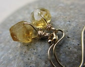 Citrine Earrings, Gold, Nugget, November Birthstone Earrings, Small, Lightweight, Abstract, Freeform, Yellow Earrings,