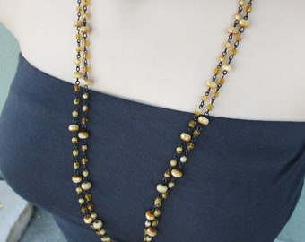Long Beaded Necklace - Earth Tone, Yellow, Taupe, Brown, Wire-Wrapped, Czech Beads, Fall Fashion