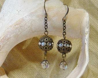 Rhinestone Antique Brass Bead Dangle Earrings, Boho, Crystal Bead Earrings, Antique Brass Earrings, Rhinestone Earrings, Filgree Beads