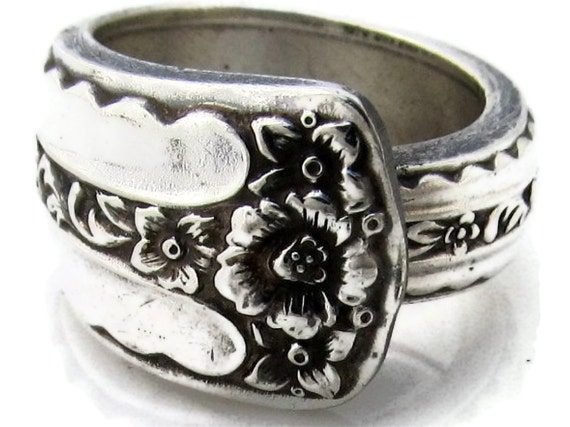Silver Spoon Ring Size 5 Spring Bouquet Pattern