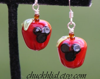 Apples for Back to School Accessories Disney Inspired Mickey Minnie Style Mouse SRA Lampwork DeSIGNeR Earrings Disneyland